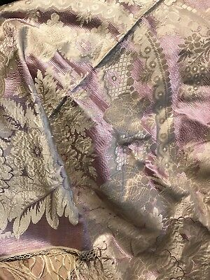Stunning Meandering Silk Pattern Rose/ Lilac/ecru Shawl Antique Russian 19thC