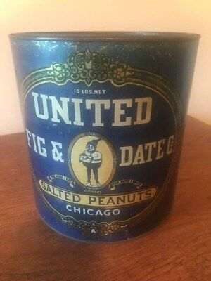 RARE Advertising salted peanuts 10 Pound tin -UNITED FIG & DATE CO.