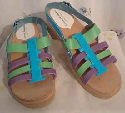 Hanna Anderssen by Vollsjo Wood Sole Multi-Color Leather Sandals size 34