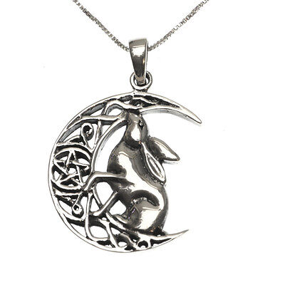 Sterling Silver 925 Moon Gazing Hare Rabbit Pendant Necklace Lisa Parker