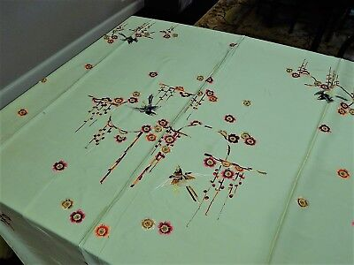 Vintage Chinese Hand Embroidered Fabric Silk Textile Panel 55 X 75