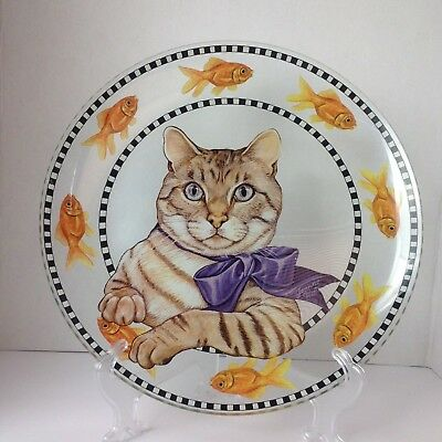 Joanne West Tabby Cat Goldfish Serving Platter Pilgrim Clear Glass Signature