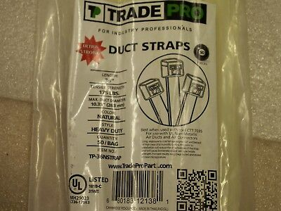 "100 Trade Pro Duct Straps 36"" x 175Lb Natural Heavy Duty TP-36NStrap ZipTie (1B)"