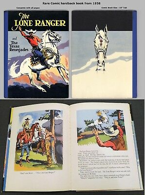 """The Lone Ranger """"And The Texas Renegades"""" - RARE 1938 w/ DJ  COMIC BOOK SIZE"""