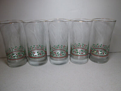 5 Arby's Holly & Berry Glasses Tumblers Christmas Swirl Gold Rim