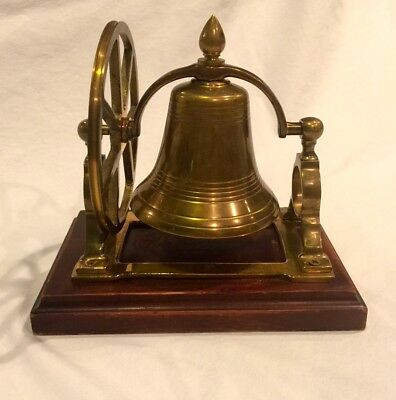 Vintage Brass Ship's Dinner Bell On Wood Base W/ Turning Wheel For Table ~ Loud!