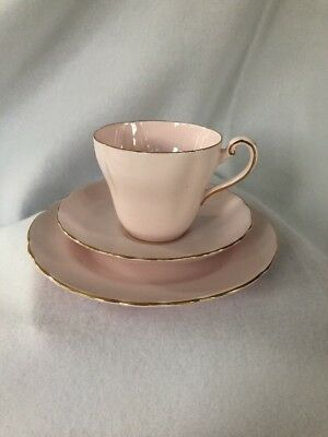 TUSCAN tea cup and saucer trio PINK With Gold Trim