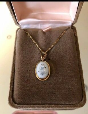 Vintage Lenox Blue China Pendant Necklace Original Box