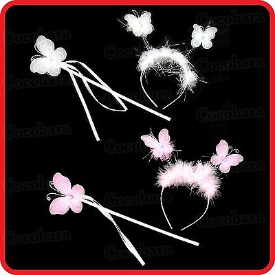 Butterfly Wiggly-Wobbly Headband+Fairy Wand-Kid-Children-Dress Up-Costume-Party