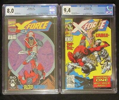 X-Force collection #2 (CGC 8.0) & #15 (CGC 9.4)...Deadpool & Cable cover/story