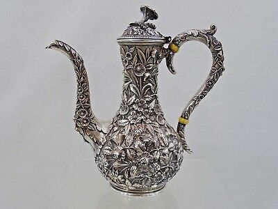 GORGEOUS KIRK & SON REPOUSSE STERLING COFFEE POT DEMITASSE Baltimore Silver RARE
