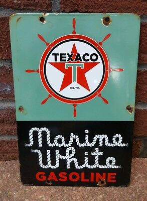 Vintage Texaco Marine White Gasoline Porcelain Gas,oil Sign (Dated 1963)