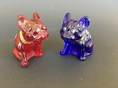2 (two) Westmoreland Rosso Bulldogs, Hand Painted, Signed, Red & Blue