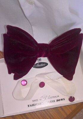 Vintage burgundy bow tie with matched tuxedo shirt buttons set