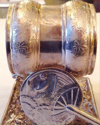 VICTORIAN SILVER PLATE NAPKIN RING CHINESE FANS & BUTTERFLY by, MERIDEN