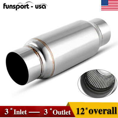 "Universal 3"" Inlet/Outlet Muffler Exhaust / Resonator 12"" Long Stainless Steel"
