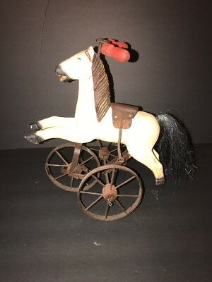 "Vintage Antique Horse on Tricycle, Wood and Metal, 13"" High"