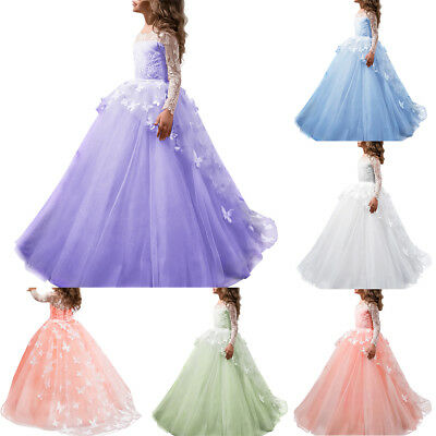 Flower Girl Princess Dress Vintage Lace Gown for Kids Wedding Bridesmiad Dresses