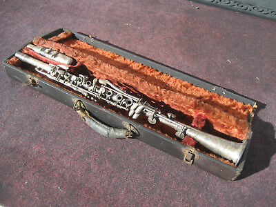 Sorkin Vintage Original Silver Metal Clarinet With Wooden Case , Made In USA