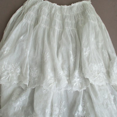Antique EDWARDIAN 3Layer FRENCH LACE Bustle Overlay Embroidered FLOWERS + BOWS