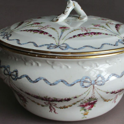 Antique CAULDON Porcelain Covered Vanity Chamber Pot Pink ROSE SWAGS + Blue BOWS