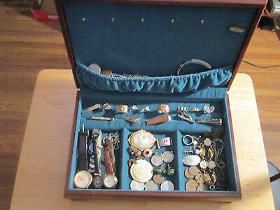 Junk Drawer Lot jewelry 10k gold sterling old coins watches tie clips old box