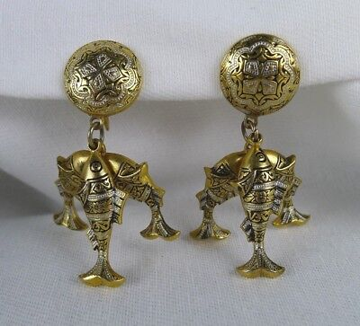 Vintage Toledo Damascene Earrings Screw Back Button With Three Fish Dangles
