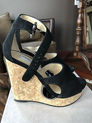 d1afb910bf23 JIMMY CHOO PERFORATED Suede Cork Wedges 36.5 -  399.99