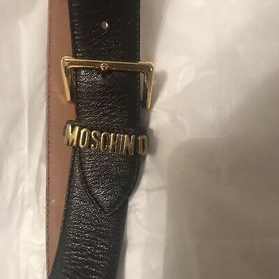MOSCHINO BROWN LEATHER BELT - SIZE 42 - M - Made in Italy
