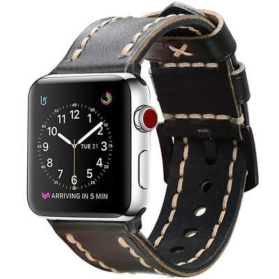 For iWatch Apple Watch Series 4 44mm 2018 Watch Band Genuine Leather Wrist Strap