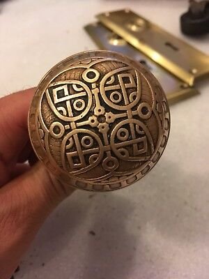2 Vintage Victorian Ornate Brass Door Knobs Set Handles Set.. Great Patina