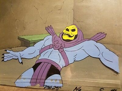 Original HE-MAN AND THE MOTU Production Animation Cel w/ Original Painted Bkgd
