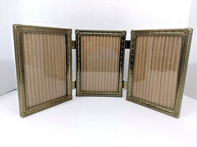 Vintage Brass Picture Frame Gold Tone Metal Tri Fold Double Hinged 5 X 7