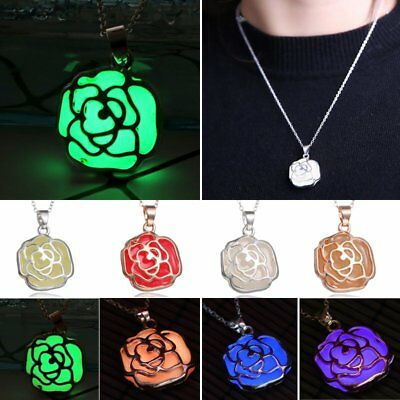 Magic Steampunk Rose Flower Glow in The Dark Pendant Necklace Womens Jewellery