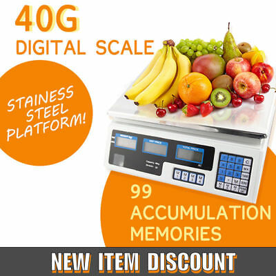 40kg Digital Fruit Scales Electronic Veg Commercial Shop Retail Price & Weighing