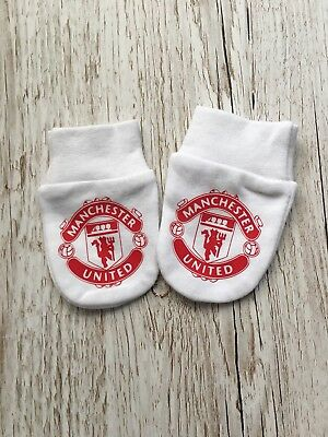 Manchester United Football Team Inspired Badge . Baby Scratch Mitts/mittens
