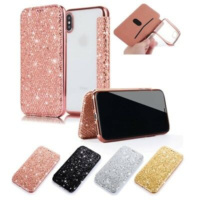 For iPhone XS Max XR 7 8 Plus Bling Glitter Sparkel Wallet Card Case Flip Cover