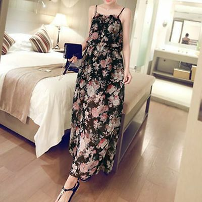 Summer Women Boho Floral Long Maxi Dress Sleeveless Evening Party Beach Sundress