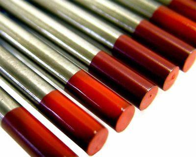 5 packs of 10 x Red 2% thoriated tig tungsten electrodes all sizes available