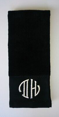 Personalised Embroidered Golf Towel - Silver Metallic Initials