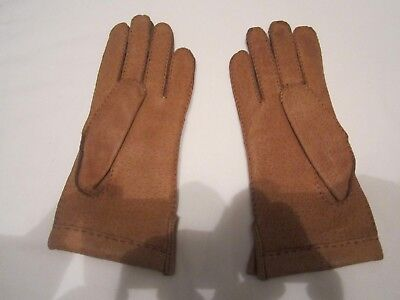 Vintage Ladies Hand Sewn Soft Leather Gloves brown size 7 vgc