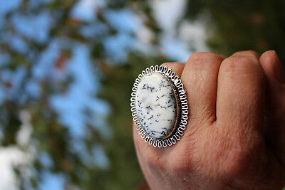 Selten! Dendritic Opal, 925 Sterling Silver Ring / 18 mm