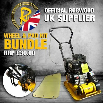 "Petrol Wacker Plate Compactor Compaction  RocwooD 14"" 5hp  free Pad & Wheel Kit"