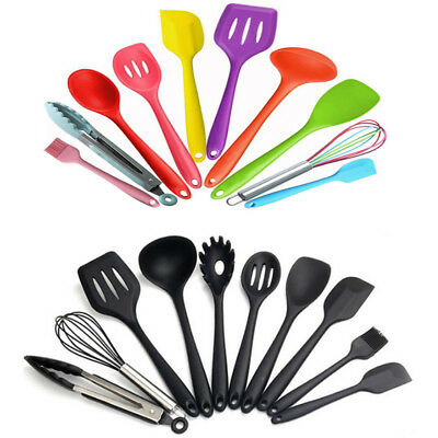 10Pc Kitchen Utensils Cooking Non Stick Baking Tool Silicon Set Black Colorful