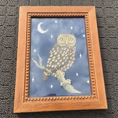 """MIDNIGHT OWL """"Blue & Brown"""" Bird Embroidered Picture in Wooden Frame"""