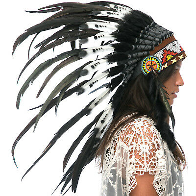 Feather Headdress- Indian Inspired -ADJUSTABLE- DOUBLE FEATHER Black & White