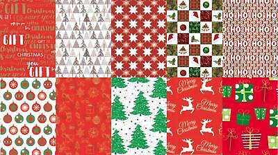 10 Assorted Sheets Thick Christmas Gift Wrapping Paper - Modern Xmas Designs