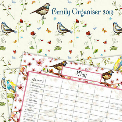 Birdsong 2019 Family Organiser Wall Calendar (Gifted Stationery) Free Postage