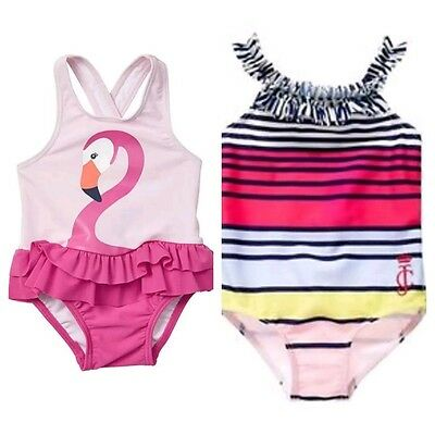 2x baby girl swimmers JUICY COUTURE swimsuit togs pink flamingo frill ruffleR$99