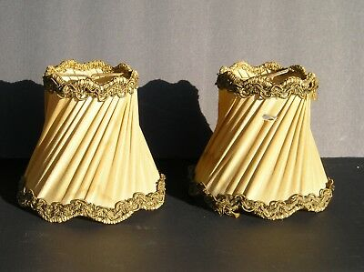 "Pair Antique Fabric Lamp Shades Victorian Design Vintage Rare as found 4"" tall"